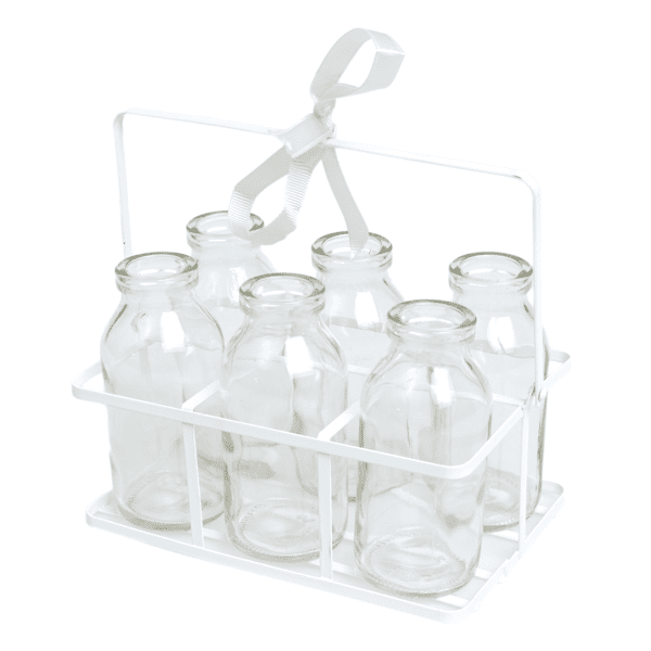 Crate of six milk bottle vases