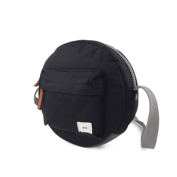 Vegan Roka Paddington Cross Body Bag in black side view