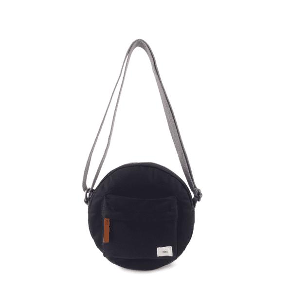 Vegan Roka Paddington Cross Body Bag in black hanging