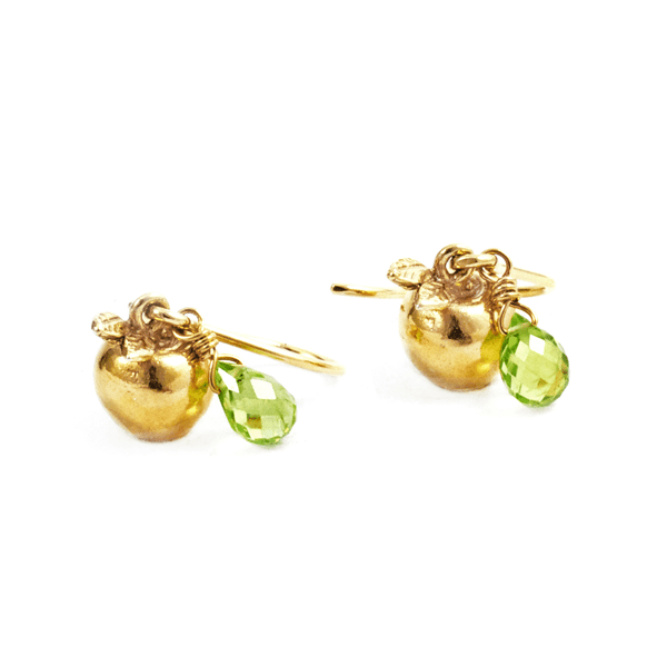 Alex Monroe Apple and Peridot hook earrings