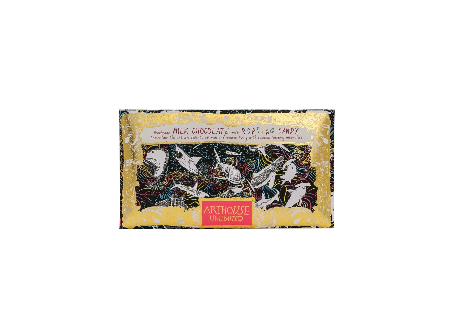 Arthouse Unlimited Milk Chocolate bar with popping candy shark design