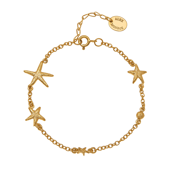 luxury jeweller Alex Monroe starfish constellation bracelet gold plate
