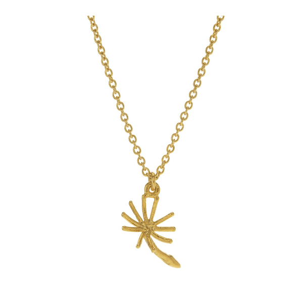 Alex Monroe dandelion fluff necklace in gold plated silver