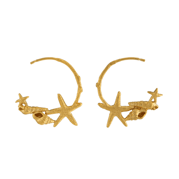 luxury jeweller Alex Monroe starfish and shell hoop earrings