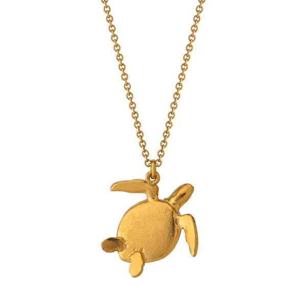 Luxury Jeweller Alex Monroe Sea Turtle Necklace gold plate