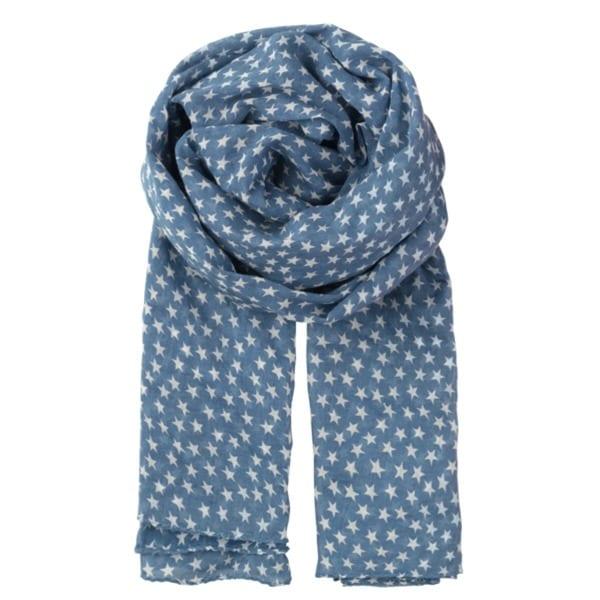 Beck Sondergaard star print cotton scarf in allure blue