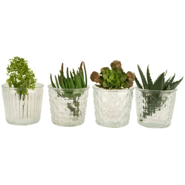 Vintage brocante style glass flower pots