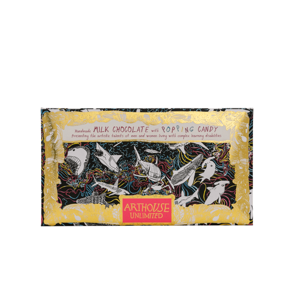 Arthouse unlimited milk chocolate bar with popping candy