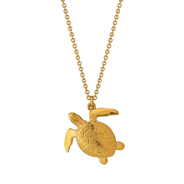 Luxury jeweller Alex Monroe Sea turtle necklace gold plate