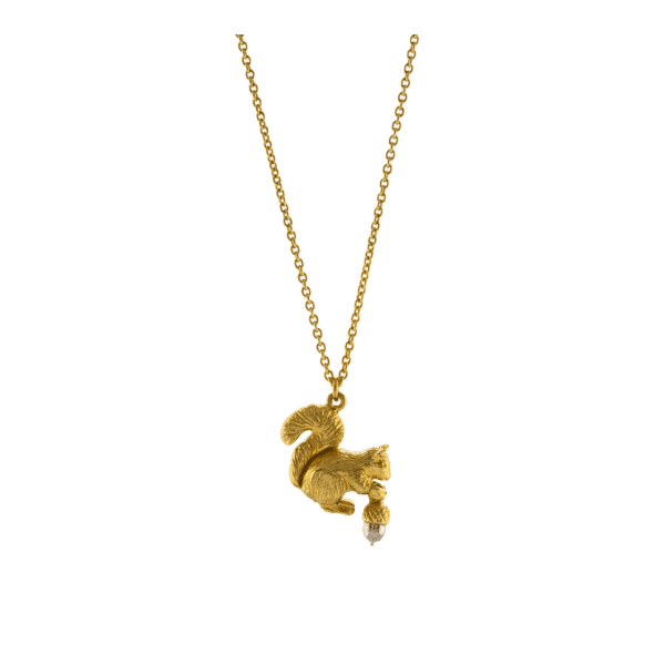 Alex Monroe gold plated silver squirrel necklace