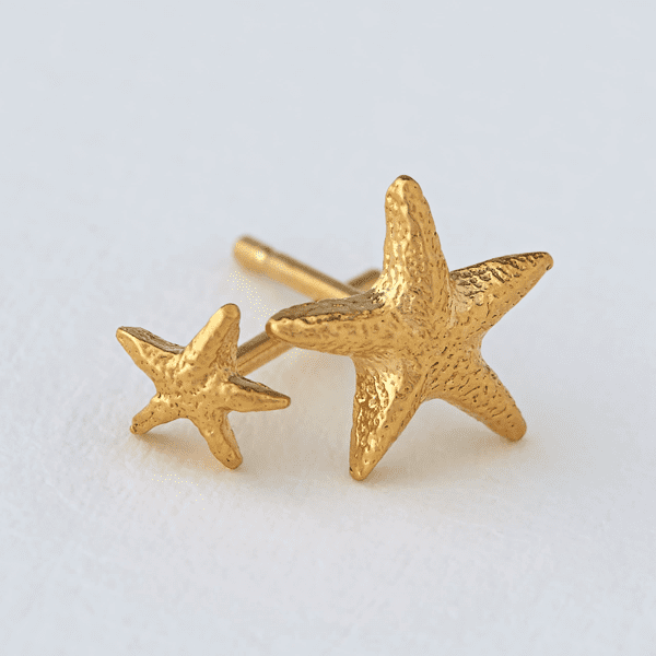 luxury jeweller Alex Monroe asymetric starfish stud earrings