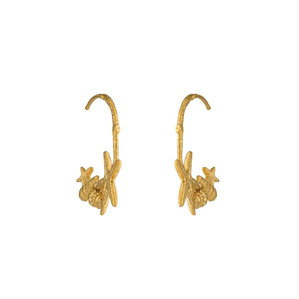 luxury jeweller Alex Monroe shell and starfish hoop earrings