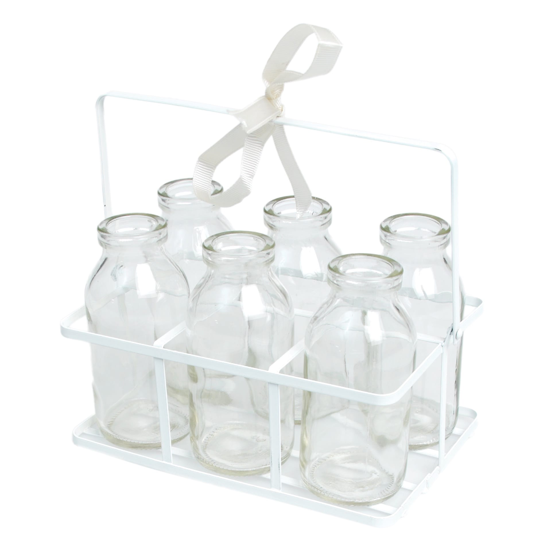 Crate of six glass milk bottles