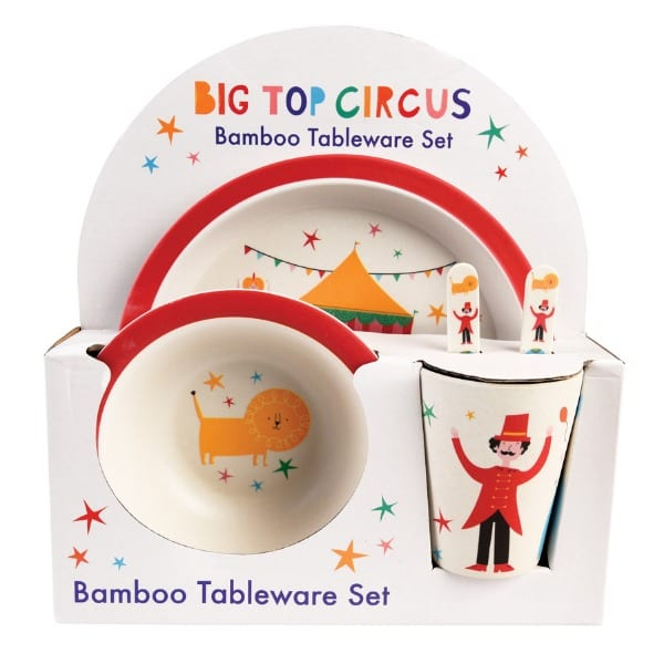 Big top circus bamboo dining set for children