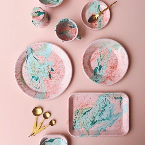 Bornn Enamel Blush pink marble design