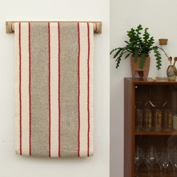 Red and White Stripe Cotton Linen Roller Towel