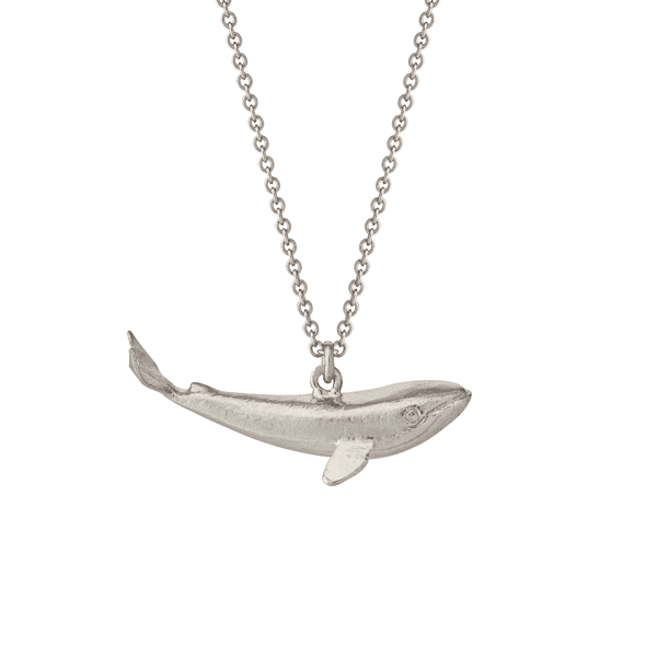 Luxury jewellery baby whale pendant necklace in sterling silver by Alex monroe
