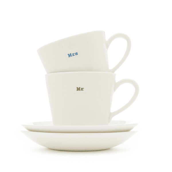 Keith Brymer Jones Espresso Cup Pair Mr & Mrs