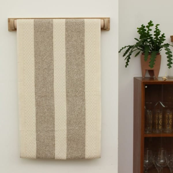 Cream and White Stripe Cotton Linen Roller Towel