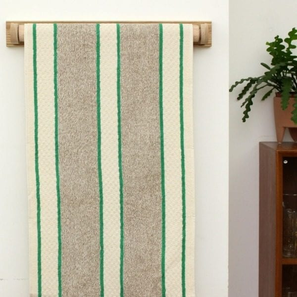 Green and White Stripe Cotton Linen Roller Towel