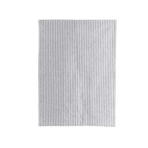 Grey and white stripe cotton tea towel