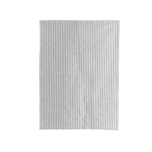 Grey and white stripe cotton tea towel