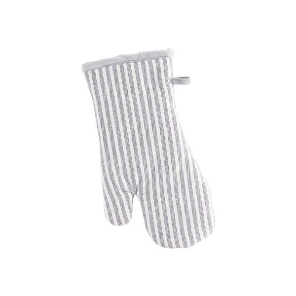 Ticking stripe grey and white over glove