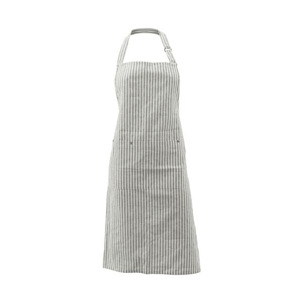 Grey & white stripe cotton apron