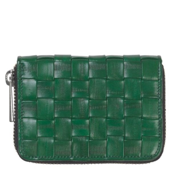 Beck Sondergaard woven eel skin purse in grass green