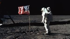 USA Flag on the moon