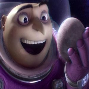Gru holding the moon in Despicable Me
