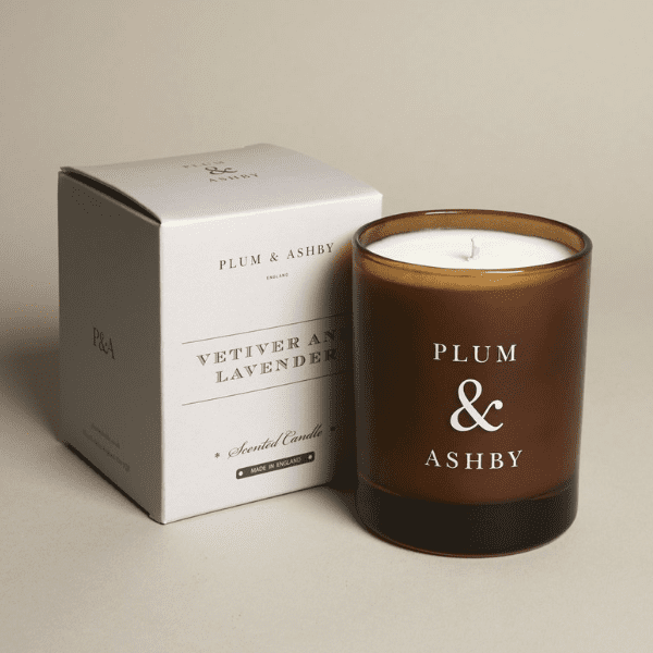 Plum & Ashby Vetiver & Lavender Scented Candle