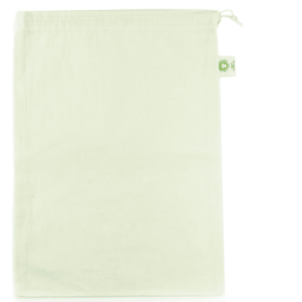Large organic cotton drawstring muslin produce bag