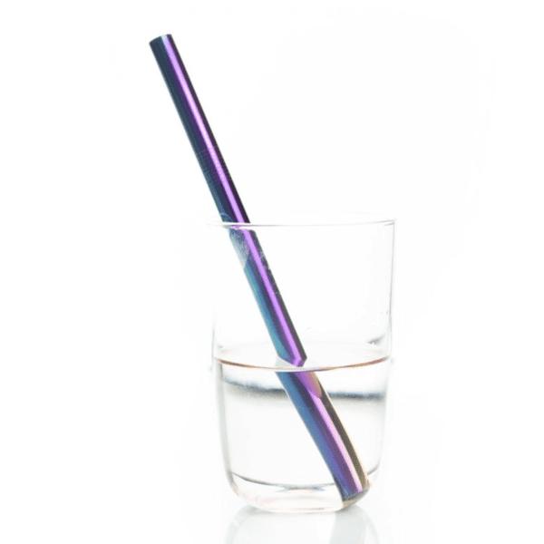 Reusable rainbow stainless steel straw