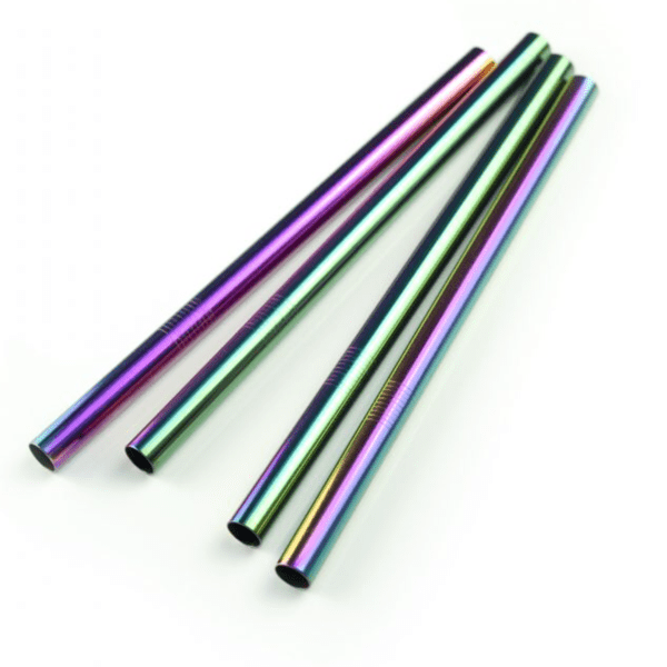 Reusable rainbow stainless steel straw