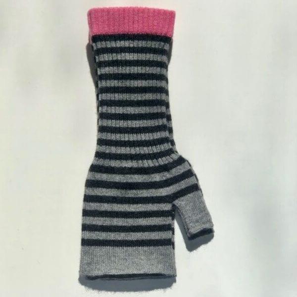 Moray Cashmere Stripy Grey Wrist Warmers