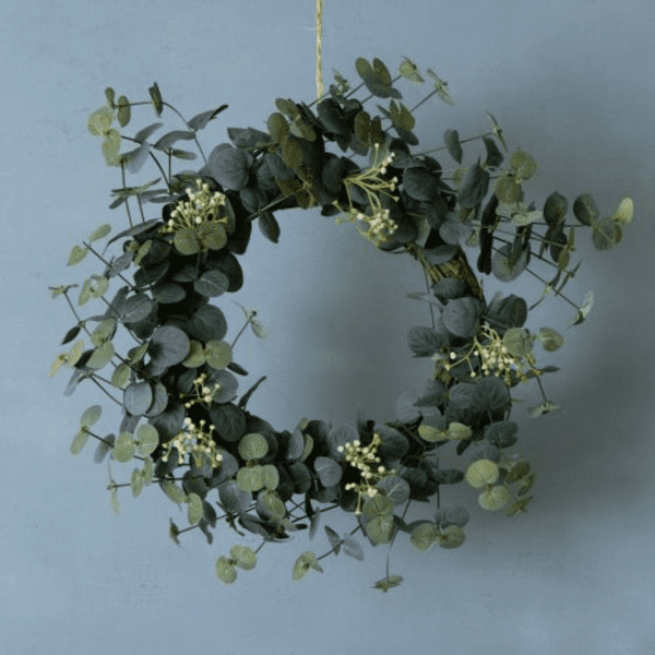 Faux Flower Eucalyptus and White Flower Christmas Wreath