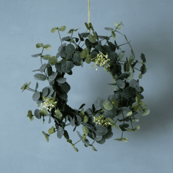 Faux eucalyptus table wreath