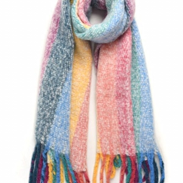 Rainbow stripe blanket scarf